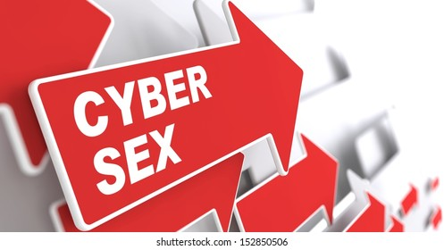 """Cyber Sex Concept.  Red Arrow with """"Cyber Sex"""" slogan on a grey background. 3D Render."""