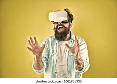 Cyber sex. Virtual sexual activity. Man touch virtual breasts. Explore cybersex. Play virtual sex game. Intimate sensation concept. Hipster man play sex game hmd or vr glasses. Satisfaction enjoyment.