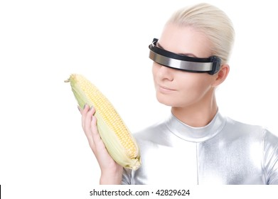 Cyber woman with a corn
