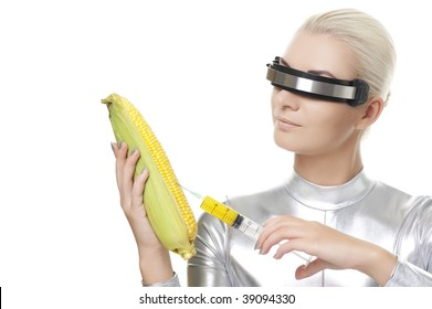 Cyber woman taking a vitamins from corn