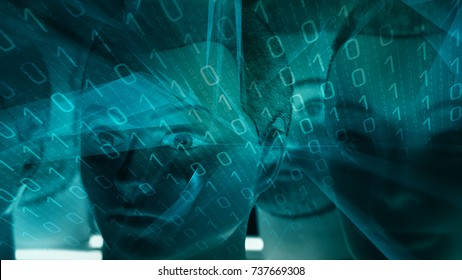 Cyberattack by cyber robots, ai abstract conception