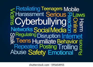 Cyberbullying Word Cloud on Blue Background