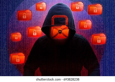 Cybercrime and cyber security from Malware Ransomware called Wannacry or Petya virus by hacker concept of lock folder, encrypted files and need payment displayed in binary code digits background