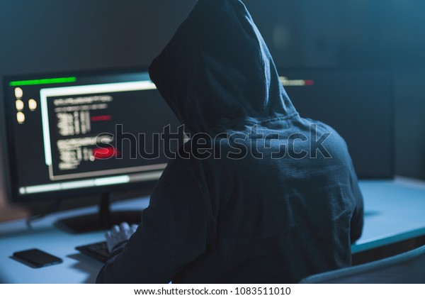 Cybercrime Hacking Technology Concept Male Hacker Stock