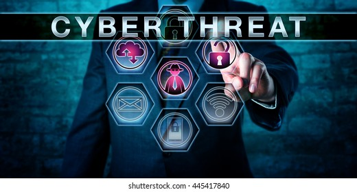 Cybercrime investigator pushing CYBER THREAT on an interactive touch screen monitor. Business risk metaphor. Information technology and computer security concept for potential attacks in cyberspace.
