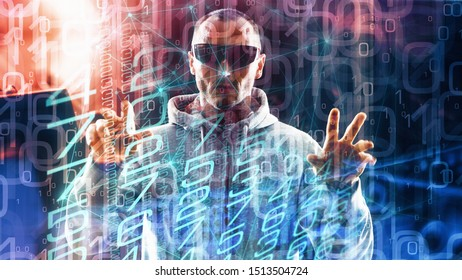 Cybercrime spy man in global network, cyber space abstract code, technology espionage