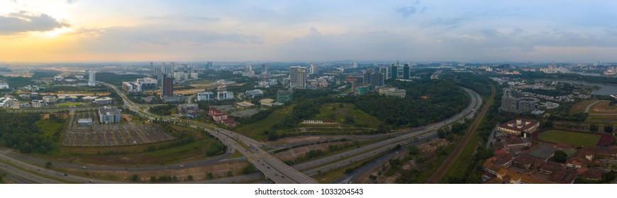 CYBERJAYA, MALAYSIA - FEBRUARY 25, 2018: Aerial view of a breathtaking sunset from Cyberjaya
