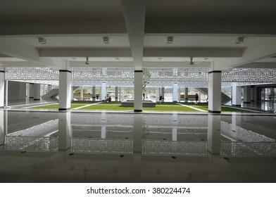 CYBERJAYA, MALAYSIA -MARCH 01, 2015:  Interior of Cyberjaya Mosque or Raja Haji Fi Sabilillah Mosque. It is the first Green Platinum Certificate Mosque built in Malaysia.