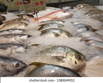 Cyberjaya, Malaysia. November 26, 2018. Seafood on display shelf for sale at Village Grocer Supermarket, Tamarind Square in Cyberjaya, Selangor