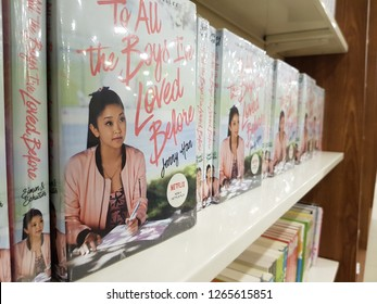 "Cyberjaya, Malaysia. October 30, 2018. A book on display shelf by Jenny Han with title ""To All The Boys I've Loved Before"", on sale at MPH Bookstore, D'Pulze Shopping Centre in Cyberjaya Sepang"