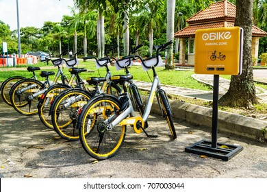 Cyberjaya, Malaysia - Sep 1 2017: Bicycles park at the designated oBike parking point.  oBike provide stationless bicycle sharing service in Malaysia