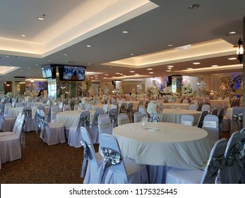 Cyberjaya, Malaysia. September 1, 2018. The interior of the Astana Banquet Hall in Garden Residence, Cyberjaya, Sepang, Selangor is a place where an event such as wedding reception is held