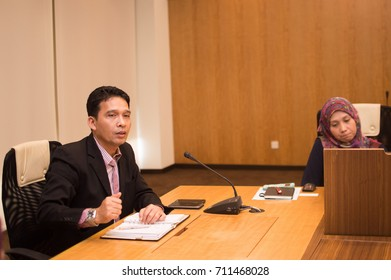 Cyberjaya, Selangor, Malaysia. - FEBRUARY 28TH 2017. Business people discussing together in conference room during meeting at office.