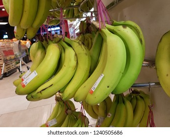 Cyberjaya, Selangor. October 22, 2018. Bananas hung on display shelf at Jaya Grocer Shopping Centre, D'Pulze one of the major groceries retail in Cyberjaya
