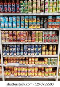 Cyberjaya, Selangor. October 26, 2018. Various canned bean products on display shelf at Jaya Grocer Supermarket at Cyberjaya, Selangor