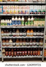 Cyberjaya, Selangor. October 26, 2018. Various organic product on display shelf at Jaya Grocer Supermarket at Cyberjaya, Selangor