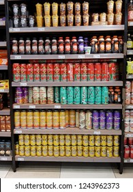 Cyberjaya, Selangor. October 26, 2018. Various canned and bottled drinks on display shelf at Jaya Grocer Supermarket at Cyberjaya, Selangor