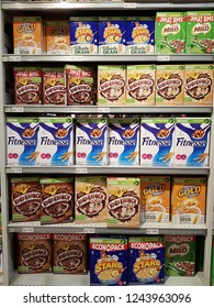 Cyberjaya, Selangor. October 26, 2018. Various breakfast cereal boxes on display shelf at Jaya Grocer Supermarket at Cyberjaya, Selangor