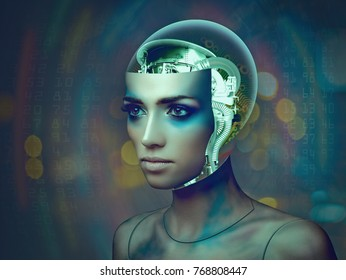 Cybernetic organism, female portrait with science and technology abstract backgrounds