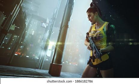 Cyberpunk style image , beautiful brunette warrior