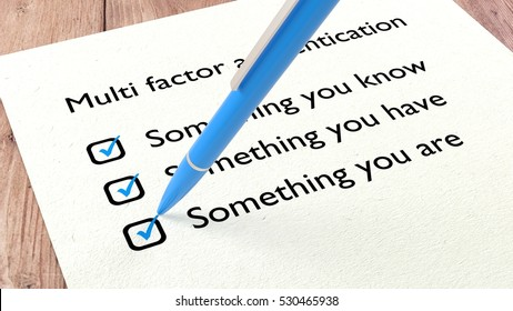 Cybersecurity checklist with a blue ballpen setting a tick in all three multifactor authentication checkboxes 3D illustration