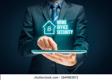 Cybersecurity concept with home office in covid-19 epidemic times. Danger of unsecured computers used in home offices. - Shutterstock ID 1849883872