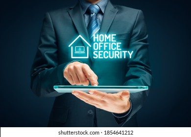 Cybersecurity concept with home office in covid-19 epidemic times. Danger of unsecured computers used in home offices. - Shutterstock ID 1854641212