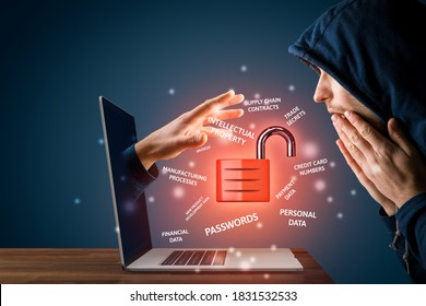 Cybersecurity concept with shocked user - computer user is surprised that malicious hacker steal corporate sensitive data from his unsecured notebook. Danger of unsecured home offices. - Shutterstock ID 1831532533