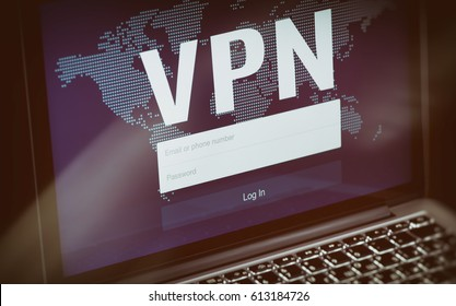 Cybersecurity concept. VPN technology. Network security on laptop