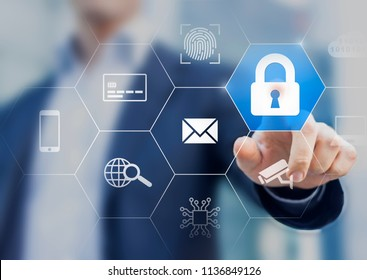 Cybersecurity on internet with secure access website and email, protection for credit card payment, biometric fingerprint, cyber security for personal data and cloud network, person touching icon