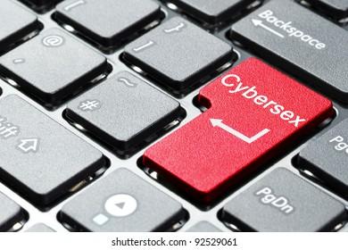 Cybersex button on computer keyboard
