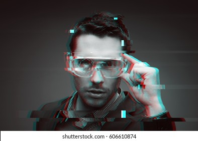 cyberspace, augmented reality, big data, technology and people - man in 3d glasses with virtual glitch effect