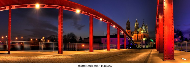Cybinski bridge and the Cathedral in Poznan in the evening