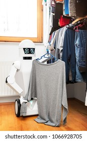 cyborg or autonomous robot is putting clothes into or out of the wardrobe, showing personal fashion preferences