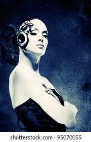 Cyborg Dreams. Adult pretty woman stylish portrait.