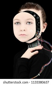 Cyborg Girl with Open Face exposing wires and electronics.
