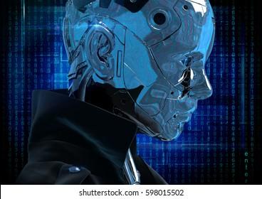 Cyborg the girl in a raincoat. 3d illustartion.