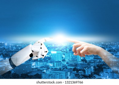 cyborg hand system concept finger about to touch human hand finger technology on city background