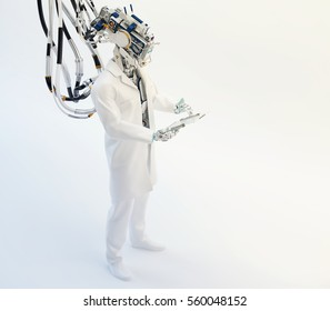 Cyborg medic specialist working with tablet pc in full height upper view, 3d render / Cyborg doctor