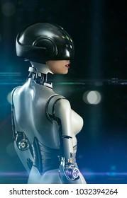 cyborg sexy female posing on  a black background - photomanipulation