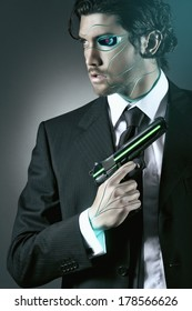 Cyborg spy with a gun. Android and robot conceptual