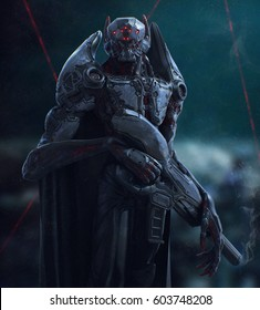 Cyborg vampire stands in the night. 3D illustration