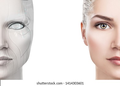 Cyborg woman with machine part of her face. Isolated on white.
