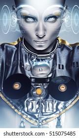Cyborg woman and shiny geometric hologram display on eyes
