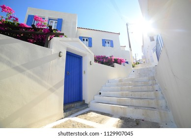 Cyclades architecture of Andros, Tinos, Mykonos and Santorini island
