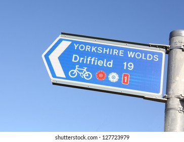 Cycle directional sign to the Yorkshire Wolds and Driffield from Bridlington, East Yorkshire, England.