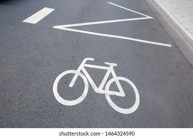 Cycle Lane and Arrow Sign, Frankfurt, Germany