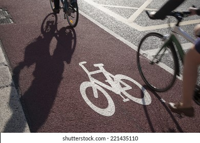 Cycle Lane with Cyclist in Dublin, Ireland