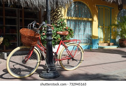 Cycle parked - colorful background with natural light