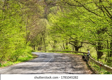 Cycle ride. Spring cycling. Green trees and grass around. Outdoor activities. The guy stopped to rest. A road with falling shadows